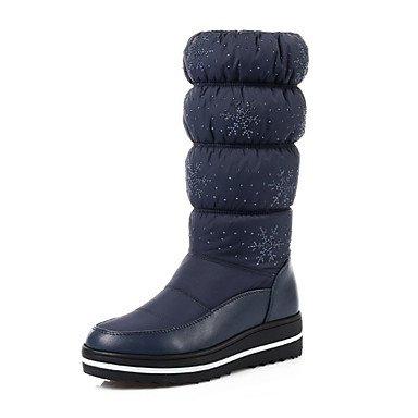 Vestito Carriera 5 Stivali Stivali Stivali Tacco EU37 Autunno amp;Amp; Donna Per Novità Rotondo Inverno RTRY UK4 Pu Toe 5 Piatto Scarpe Nero US6 Calf 5 Moda Office CN37 Mid Comfort Blu 7 C18zqR