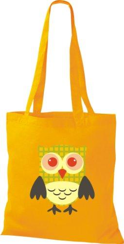 Shirtinstyle Stoffbeutel Bunte Eule niedliche Tragetasche mit Punkte Karos streifen Owl Retro diverse Farbe gelb s3PpkjWrg