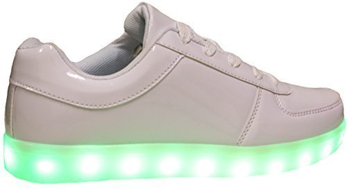 Forever Link Women's Signal-60 White Lace Up LED Fashion Sneakers with Light Show/Chargeable 7.5 D(M) US