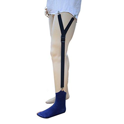 CHANGPING Men's Shirt Stays Y-Style Adjustable Elastic Garter Straps Sock Suspenders - 0.8