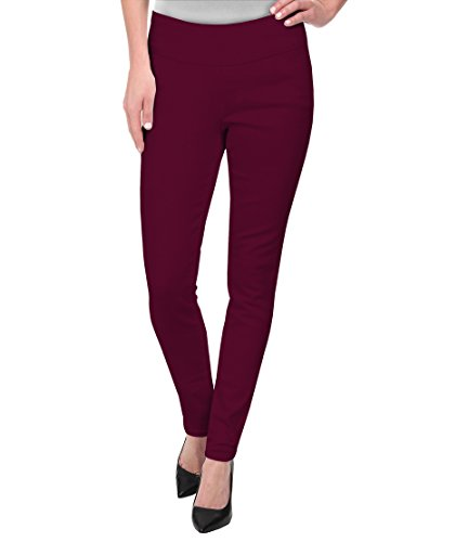 Hybrid & Company Super Comfy Stretch Pull On Millenium Pants KP44972 Wine XLarge (Maroon Pants Women Dress)