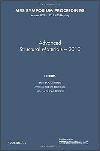 Amazon Com Advanced Structural Materials 2010 Volume 1276 Mrs
