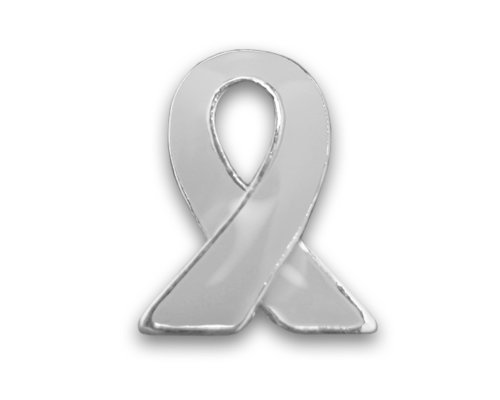 Fundraising For A Cause Brain Cancer Awareness Gray Ribbon Lapel Pin - Silver Trim (Retail) (Silver Sterling Awareness Pin Ribbon)