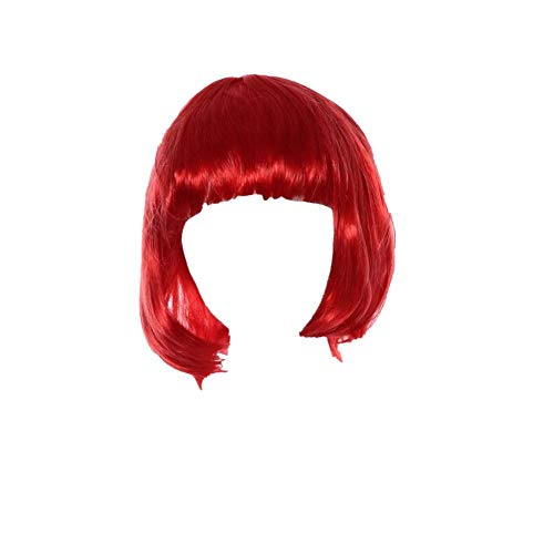 Togethor Masquerade Small Roll Short Straight Hair Wig Short Bob with Flat Synthetic Colorful Cosplay Daily Party Wig