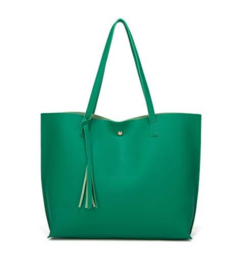 - Women's Soft Faux Leather Tote Shoulder Bag from Dreubea, Big Capacity Tassel Handbag Green