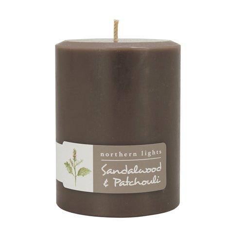 Northern Lights Candles Sandalwood & Patchouli Fragrance Palette Pillar Candle, 3 x 4