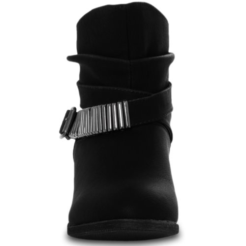 CASPAR Damen Vintage Stiefelette mit Metall Dekor und kurzem Schaft Schwarz