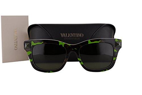 Valentino V670SC Sunglasses Fluorescent Green Army Green w/Black Lens 309 V - Valentino 2017 Sunglasses
