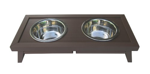ecoFLEX Adjustable Height Double Dog Bowl by New Age Pet-Small-Russet ()