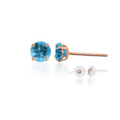 Blue Topaz Rose Earrings - 10K Rose Gold 4mm Round Swiss Blue Topaz Stud Earring