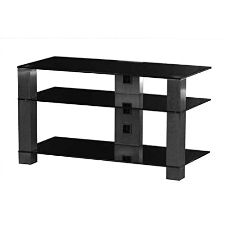 Sonorous Pl3405 Black Glass And Smoked Aluminium Tv Stand For Tv