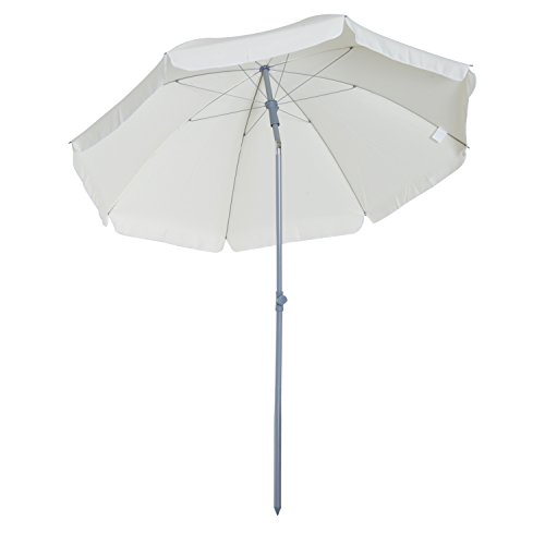 Outsunny 7.2' Outdoor Beach Sun Umbrella% with Tilt Mechanism - Cream White by Outsunny