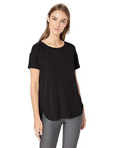 Amazon Essentials Women's Studio Relaxed-Fit Lightweight Crewneck T-Shirt, -black, Large