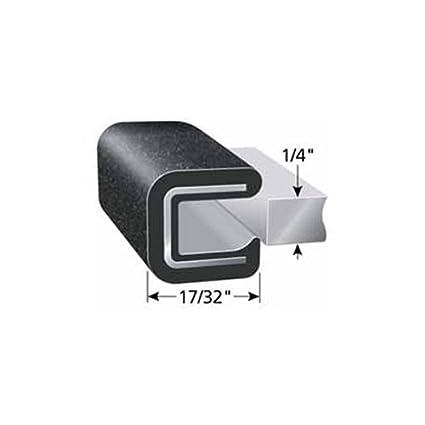 0.576 Height Fits Edge 1//8 100 Length Trim-Lok 1100B7X1//8-100 PVC//Aluminum Rubber Lok