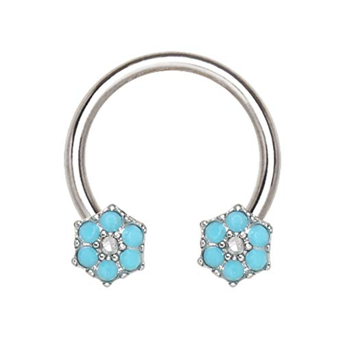 Amelia Fashion 16 Gauge Teal Blue Jeweled Flower Circular Barbell/Horseshoe Nose Ring 316L Surgical Stainelss Steel (Steel & Teal - Barbell Ring Belly Circular