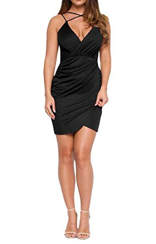 Women V Neck Spaghetti Strap Sleeveless Pleated Asymmetrical Bodycon Clubwear Mini Dress