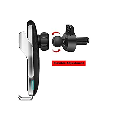 Survival-Pax Co. Smart Sensor Wireless Car Charger Mount, Automatic Clamping QC/QI 10W Fast Charging Car Charger Holder Compatible with iPhone 11/Xs/Xs Max/XR/X,Samsung Note 9/S9/ S9+/S8 etc (Sliver): Electronics