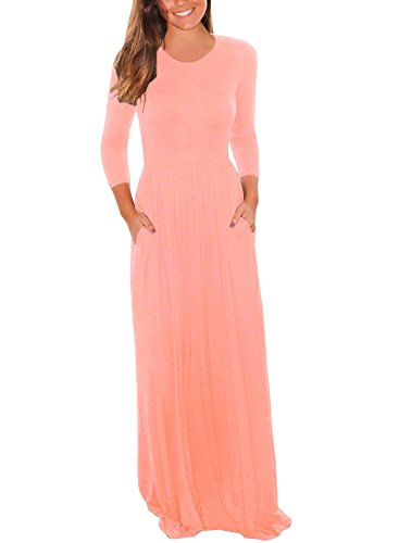 Lovezesent Women's 3 4 Sleeve Round Neck Maxi Casual Pocket Dress Small Pink