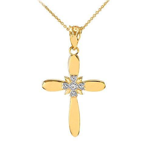 Fine 14k Yellow Gold Solitaire Diamond Flower Cross Pendant Necklace (1.25
