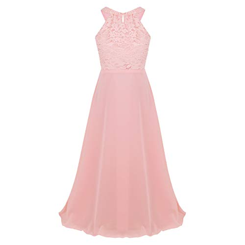 iEFiEL Kids Flower Girl Wedding Bridesmaid Halter/Shoulder Straps Chiffon Dress Junior Prom Pageant Party Ball Gown Pink Lace Cutout Back - Dresses Out Prom Cut