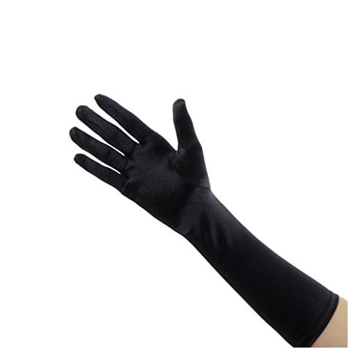 "Women Elegant Elbow Length 15"" Satin Gloves"