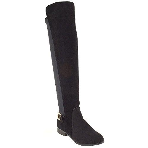 Stivali Da Donna Esex Glam Al Ginocchio Stivali Flat Stretch Con Fibbia Sulle Gambe In Finto Camoscio Nero