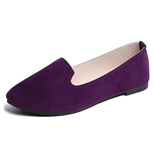 Bas Robe Pointu Léger Violet Casual Huatime Chaussure Bateau Talon Couleur Plat Bonbons Confort Danse Femmes Chaussures Mesdames Escarpins Pointe HRCPwaq