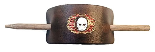 Hand Painted Flaming Skull Leather Hair Barrette with Stick (Hand Of Fate Steam compare prices)