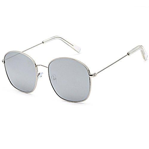 Women Men Sunglasses Round Square Reflective Lens Metal Frame Summer Glasses (Square - Prescription Discount Sunglasses Online