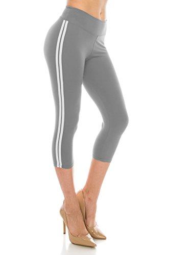 ALWAYS Leggings Women Striped Capri - Basic Premium Soft Stretch Buttery Yoga Workout Grey White Plus
