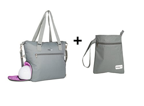 Breast Pump Bag Tote Plus Wet Dry Bag with Staging Mat for B