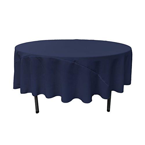 LA Linen 90-Inch Round Polyester Poplin Tablecloth, Navy Blu