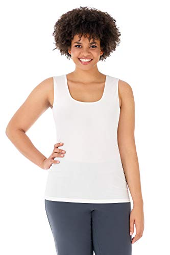 Silky Knit Tank - Rekucci Travel in Style - Curvy Woman Essential Knit Scoop Neck Sleeveless Plus Size Top (3X,Off White)