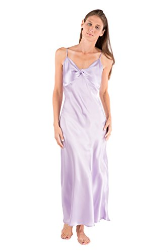 Spaghetti Strapped Long Gown - Women's 100% Silk Luxury Nightgown - Sleepwear Gift by TexereSilk (Caviar Noir, Orchid Petal, Large) Comfortable Night Gowns for Her WS0401-OPT-L