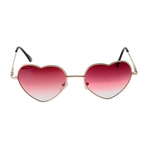 Cadeaux Soleil Lunettes Fille clair rouge en de Femme Homyl Cadre Forme Coeur q07pxCwB