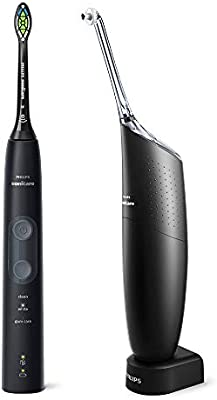 Philips Sonicare ProtectiveClean 5100 Electric Toothbrush and Philips AirFloss Pro Power Flosser, Black (UK 2 Pin Bathroom Plug) HX849174