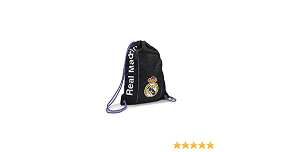 Amazon.com : REAL MADRID Official Licensed 2017 TEAM AWAY BLACK CINCH BAG SACK by ICON SPORTS ... : Sports & Outdoors