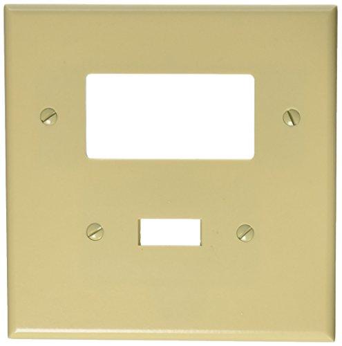 (Leviton 86605 2-Gang 1-Toggle 1-Decora/GFCI Device Combination Wallplate, Oversized, Thermoset, Device Mount, Ivory)