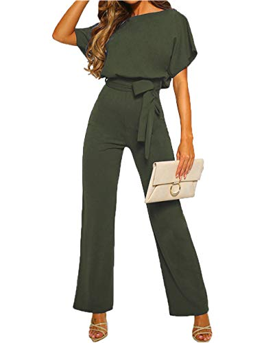(ALAIX Women's Elegant Short Sleeve Jumpsuit Loose Wide Leg Long Pants Rompers Overall with Waistband ArmyGreen-L)