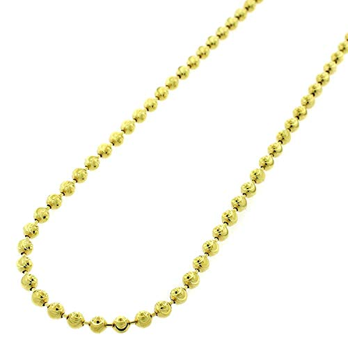 (18K Yellow Gold Italian 3mm Ball Bead Moon Cut - 925 Sterling Silver - Solid Necklace Chain - 16