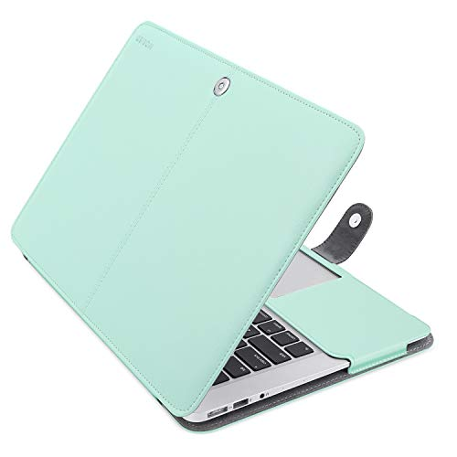 MOSISO MacBook Air 13 inch Case, Premium PU Leather Case Book Folio Protective Stand Cover Sleeve Compatible with MacBook Air 13 inch A1466 / A1369 (Older Version Release 2010-2017), Mint Green