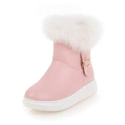 JOYBI Women Winter Mid Calf Boots Buckle Comfort Slip On Fur Lined Fashion Round Toe Platform Snow Boots