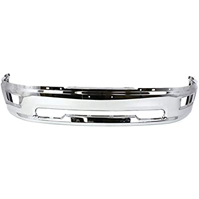Front Bumper Compatible with 2009-2010 Dodge Ram 1500 Chrome with Rectangular Fog Light Holes All Cab Types: Automotive