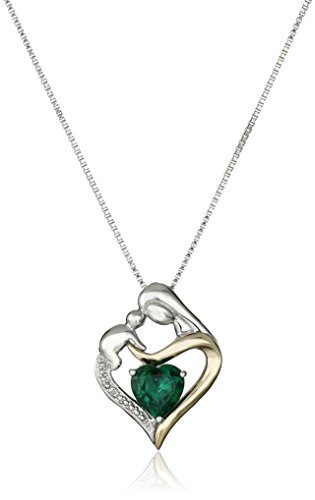 Mother and Baby Birthstone Heart Necklace