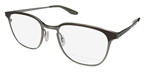 Barton Perreira Sprinter For Men Designer Full-Rim Shape Titanium Allergy Free Japan Eyeglasses/Eyeglass Frame (50-20-148, Pewter/Brown ()