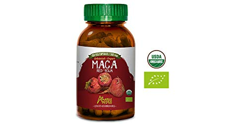 Amazon Andes – Gelatinized Red maca Root Capsules – 100 * 500 mg – Vegan Pills – Organic USDA Supplement – Non GMO