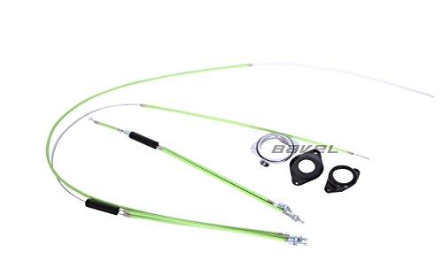 BMX Bike Gyro Brake Cables Front + Rear (Upper + Lower) Spinner Rotor Set Kit (green)
