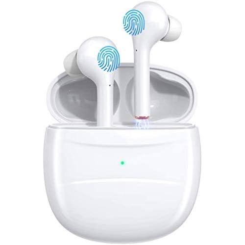 chollos oferta descuentos barato Auriculares Bluetooth deportivos inalámbricos con micrófono HD y mini caja de carga para iOS Android Samsung Huawei HTC En el oído Pulido blanco