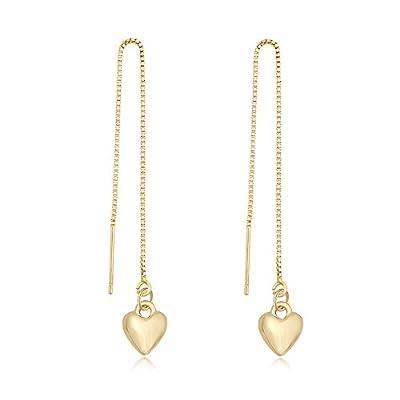 Wholesale TUSHUO Simple Dangling Style Heart Chain Earrings Cute Love Heart Threader Drop Earrings for Women supplier RIwzAPcS