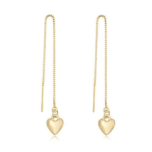 TUSHUO Simple Dangling Style Heart Chain Earrings Cute Love Heart Threader Drop Earrings for Women (Gold)